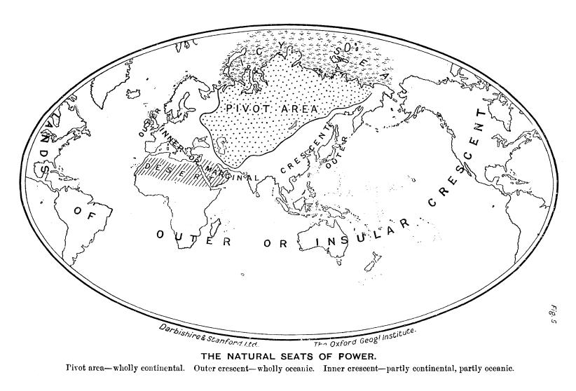 A scan of the map out of H.J. MacKinder's 'The Geographical Pivot of History' article on what later has been called 'The Heartland Theory'. Published in the Geographical Journal, Volume 23, Number 4, April 1904, on page 421-437.   This article is still the major foundation of any geopolitics and geoeconomics till today (both in the Global West as in the Global East).   'The Heartland Theory and more generally classical geopolitics and geostrategy were extremely influential in the making of US strategic policy during the period of the Cold War.' (Sloan, G.R., Geopolitics in United States Strategic Policy, Brighton: Wheatsheaf Books, 1988).   The article is still online available in PDF file format at https://wikispooks.com/w/images/c/c6/The_Geographical_Pivot_of_History.pdf (by just clicking here).